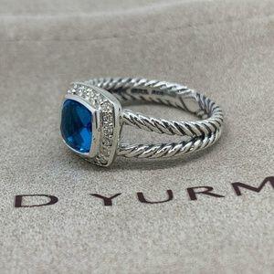 David Yurman Jewelry - David Yurman Petite Albion Ring Blue Topaz Diamond